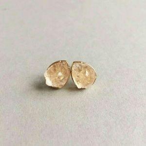 Tan Teardrop Druzy Earrings